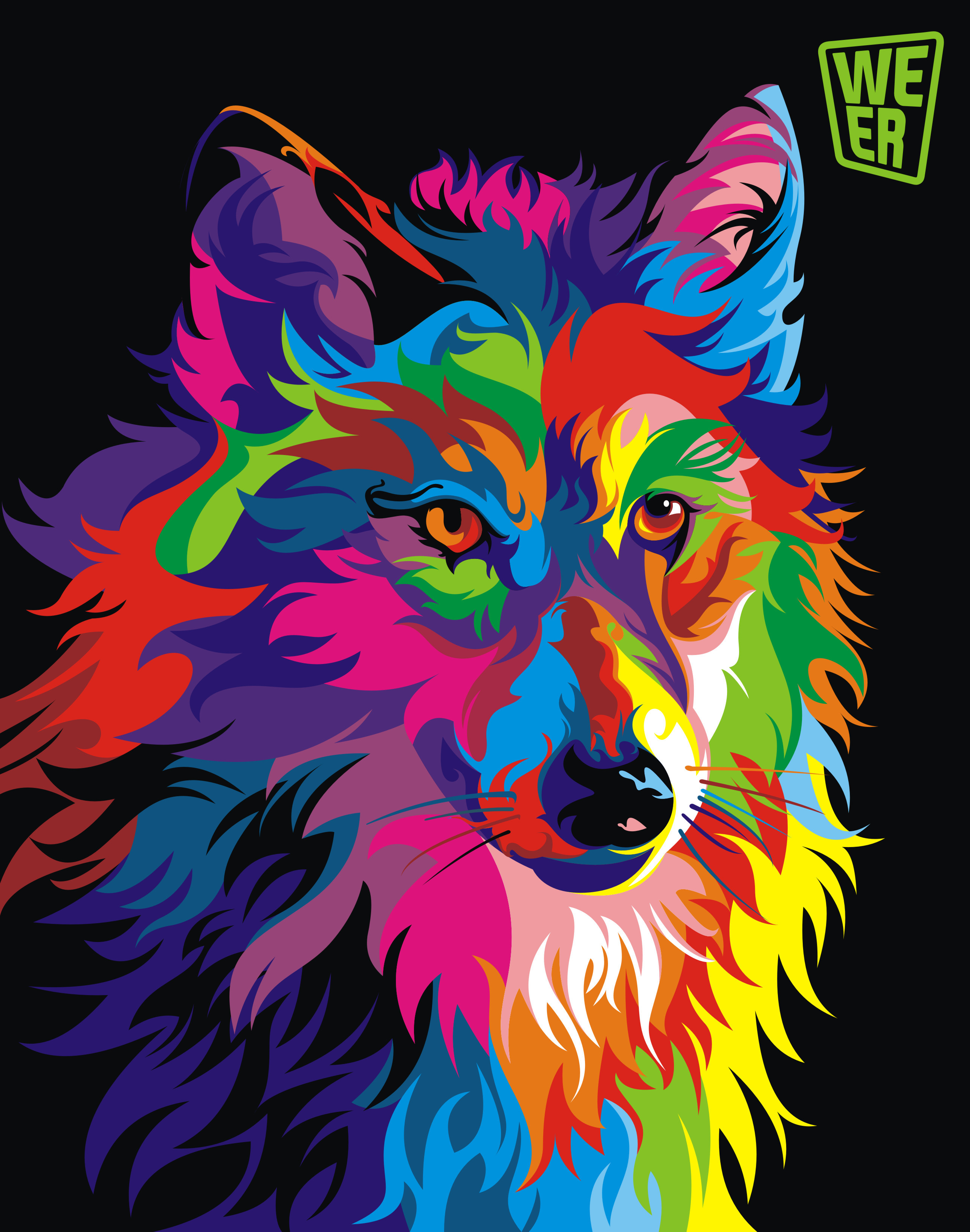 Colorful vector animals by Wahyu Romdhoni | Art-Spire Colorful Wolf Painting