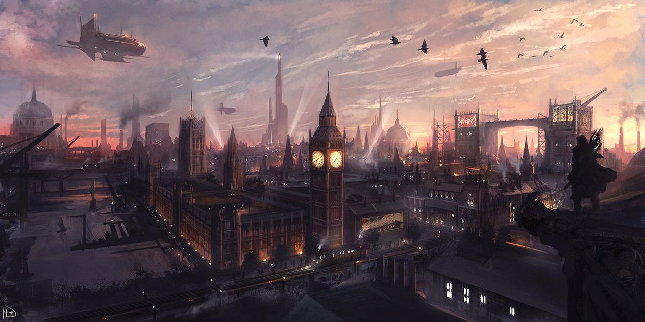 fantasy art floating city