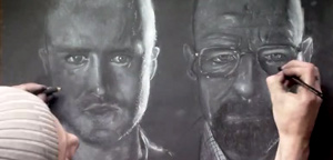 Mark Gibson – Two Handed Breaking Bad Jesse & Walt Speed Drawing