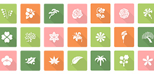 Freebie – 40 flowers and leaves icons