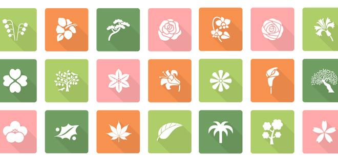 Freebie – 40 icônes de feuilles et fleurs