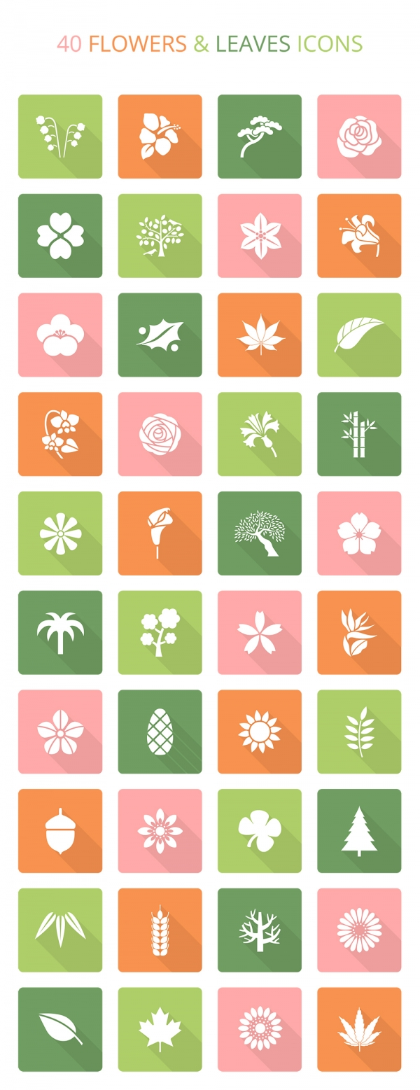 flowers-leaves-icon-set