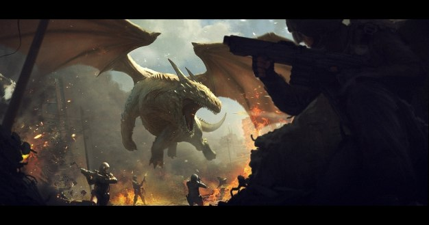 Dragon_vs_soldiers_by_AndreeWallin